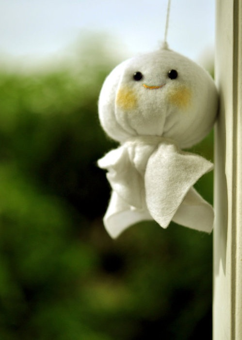 "Beautiful Japanese Style - Teru teru bōzu (literally means ""shine shine monk"") is a Japanese traditional hand-made doll, made of white paper or cloth and hanging outside of the window by a string."