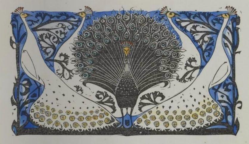 Gw Dijsselhof Woodcut Art Nouveau Peacocks Draped In