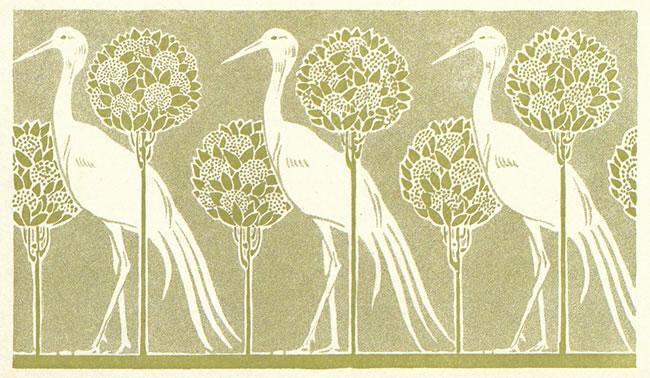 art nouveau storks