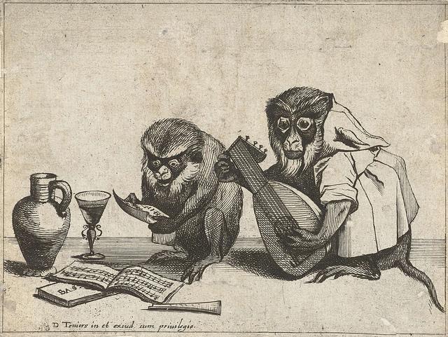 Twee apen maken muziek, Quirin Boel, 1635
