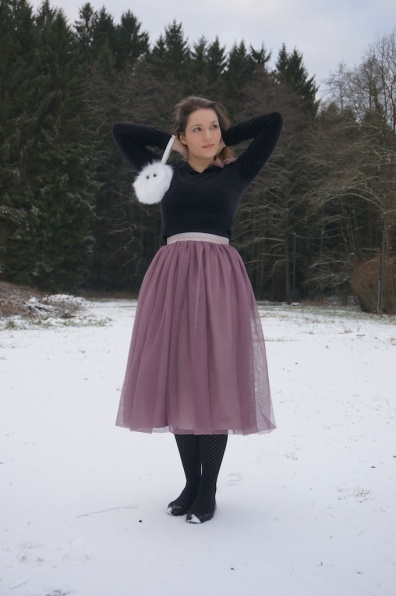 Tulle skirt and velvet sweater