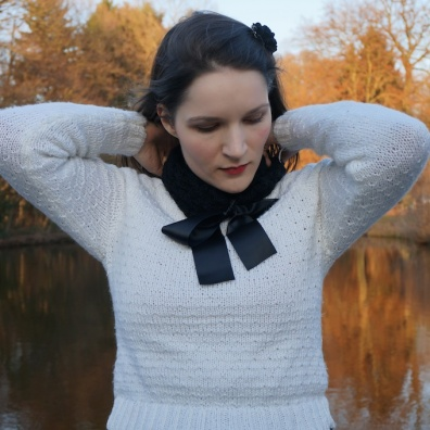 Knittted sweater and scarf